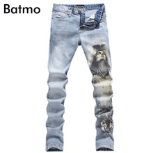 2016 New Men printed wolf Coloured drawing or pattern Nightclubs Jeans,Pencil Pants Denim Jeans Men,plus-size 28-40