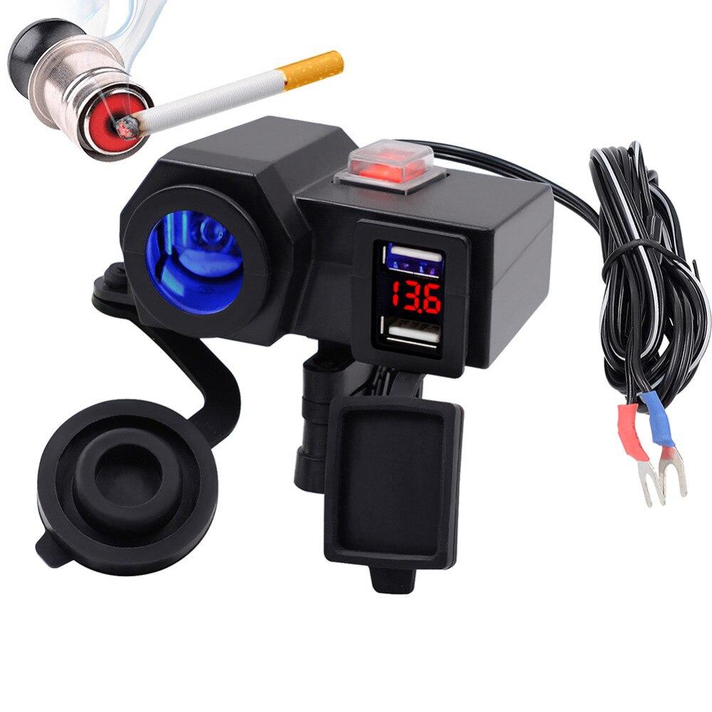 12 V Voiture Moto Étanche Cigarette Chargeur Allume Double USB Power Adapter Socket Outlet Léger Avec Cigarette Noir
