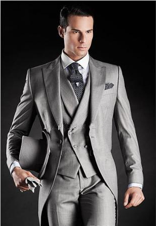 Slim Fit Suit 2016 Beautiful High Quality Light Grey Long Style