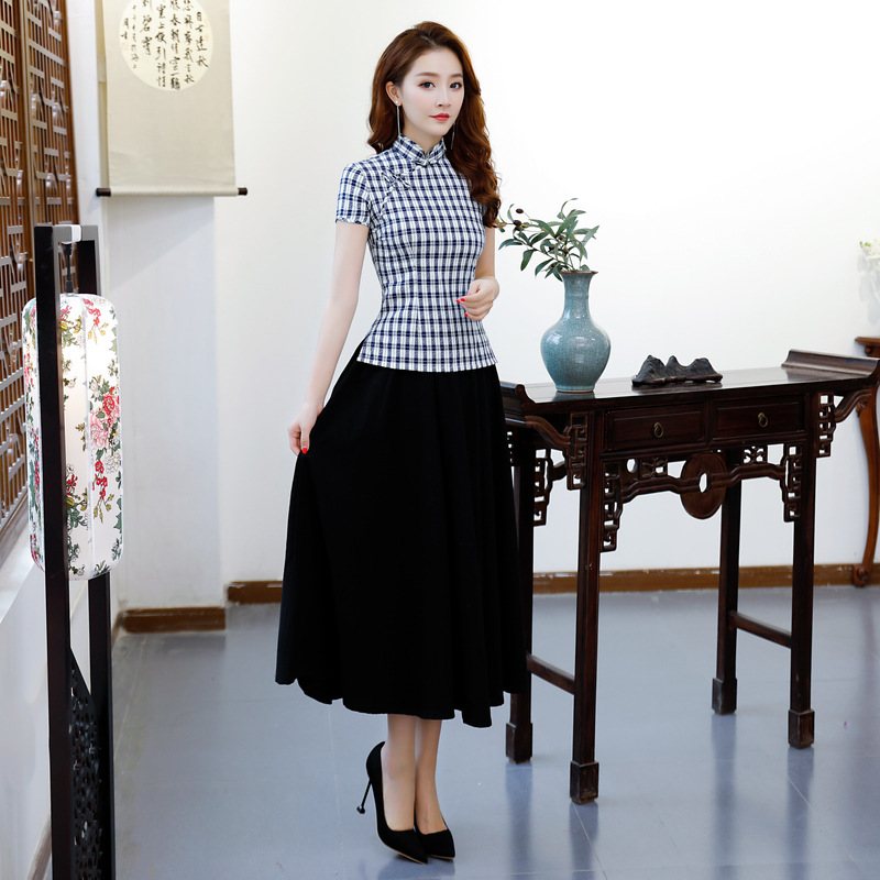 New Summer Women's Blouse Skirt Sets Traditional Chinese 2pc Short Sleeve Shirt Mandarin Collar Cheongsam Dress Size S-XXXL 9971