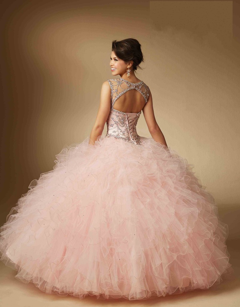 Mint Green Beading Illusion Neck Quinceanera Dresses 2017 for 15