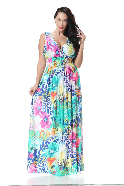 Floral Print Summer Dress Big Size XL 7XL Sleeveless Floor length