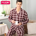 Completo de La Manga de Primavera y Otoño de los hombres conjuntos de pijamas 100% algodón pijamas ropa de Dormir a cuadros de Salón masculino ropa de dormir de algodón homewear suave ocasional