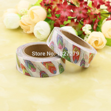 1pcs NEW 15mm*10m Colorful Feather Decorative Washi Tape DIY Scrapbooking Masking Tape School Office Supply Escolar Papelaria 2j202 1 5cm wide the puzzle world decorative washi tape diy scrapbooking masking tape school office supply escolar papelaria