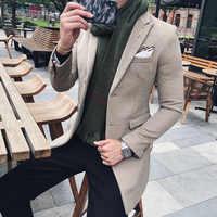 Blazer largo de Color sólido para Hombre Vintage Retro Slim Fit Blazer Hombre Casual mezcla de lana para Hombre chaqueta de diseñador de alta calidad