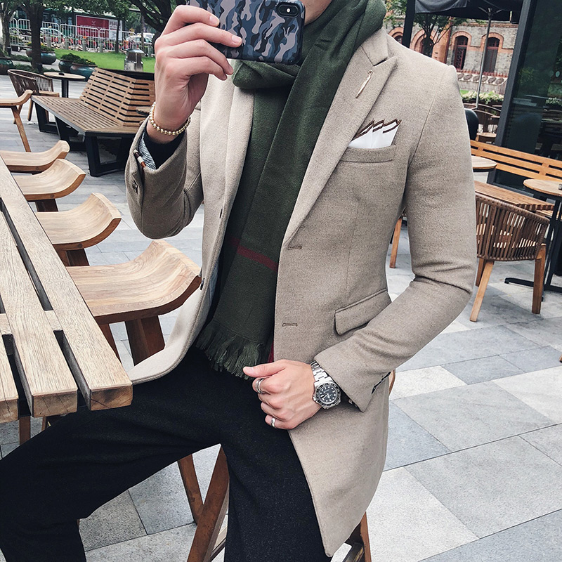 Solid Color Long Blazer Men Vintage Retro Slim Fit Blazer Hombre Casual Wool Blend Men Coat High Quality Designer Blazer