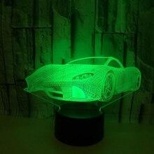 Новинка 3D настольная лампа 3D гоночный автомобиль ночные огни светодио дный LED USB 7 цветов датчик настольная лампа как праздник год День Рождения Декор подарки