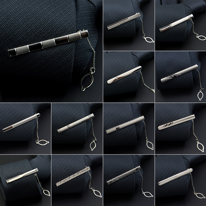 1 PCS Fashion Style Tie Clip For Men Exquisite Rhinestone Pave Silver Metal Simple Bar Clasp Business Suit Necktie Clasp Brand