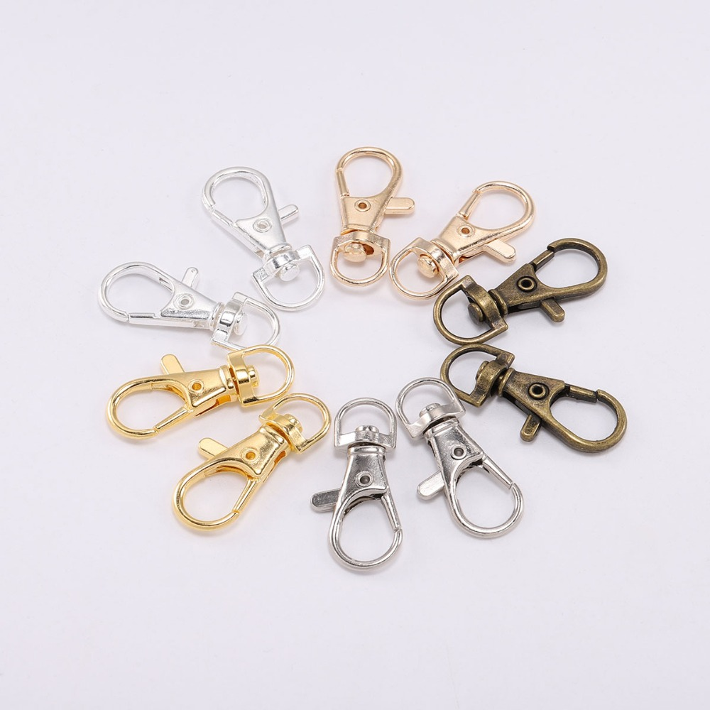 10pcs/lot Key Chain Ring Swivel Trigger Lobster Clasp Diy Craft Outdoor Backpack Bag Parts Snap Hook Supplies For Jewelry Making Profit Small