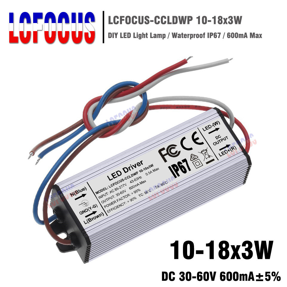 10 18x3w Lighting Transformers 30 54w Constant Current 600ma Led 42 What Happens When A Circuit Is On The Complete Lights Driver 36 48 54 W Watt Waterproof Ip67 Power Supply In From