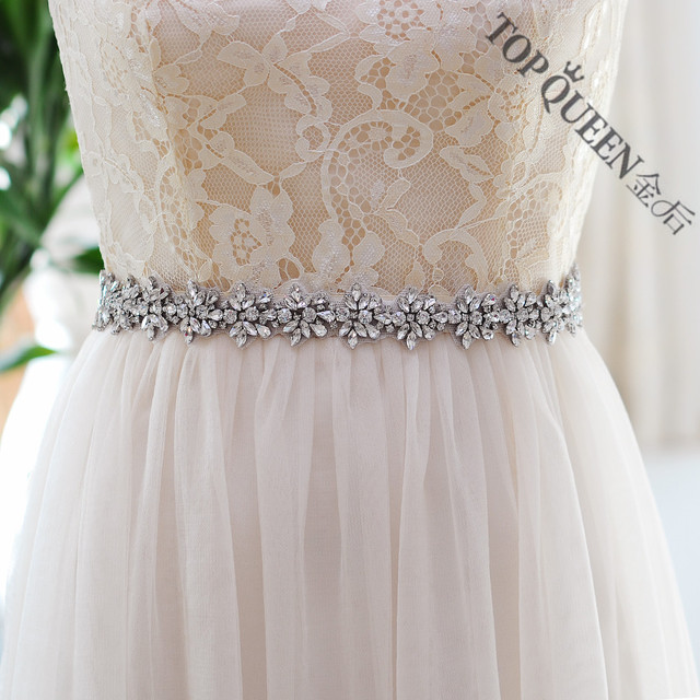 TOPQUEEN S269 Women's Crystal Rhinestone Bridesmaid Evening Party Gown Wedding Dresses Accessories Waistband Bridal Sashes Belts