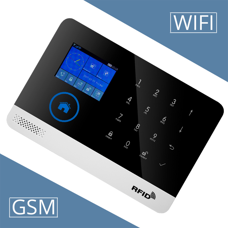 Image 2 - Free shipping.Newest Wireless Home Security WIFI GSM SIM card EN RU ES PL DE Switchable Alarm system APP RFID Remote Control-in Alarm System Kits from Security & Protection