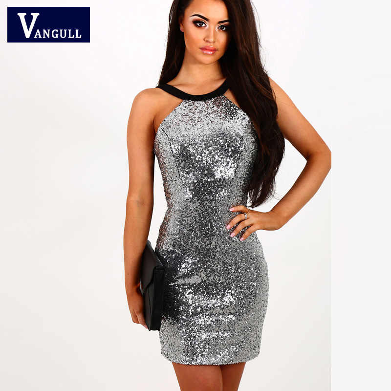 Brand Womens Sequins Halter Backless Short Dress 2018 New Silver Paillette  Bodycon Slim Sexy Clubwear Party 4fafc4185265
