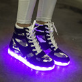 Women Spring Fashion Shoes High Top Led Shoes for Adults Homme Patchwork Mens Shoes Casual Flash Neon Shoes G28 30
