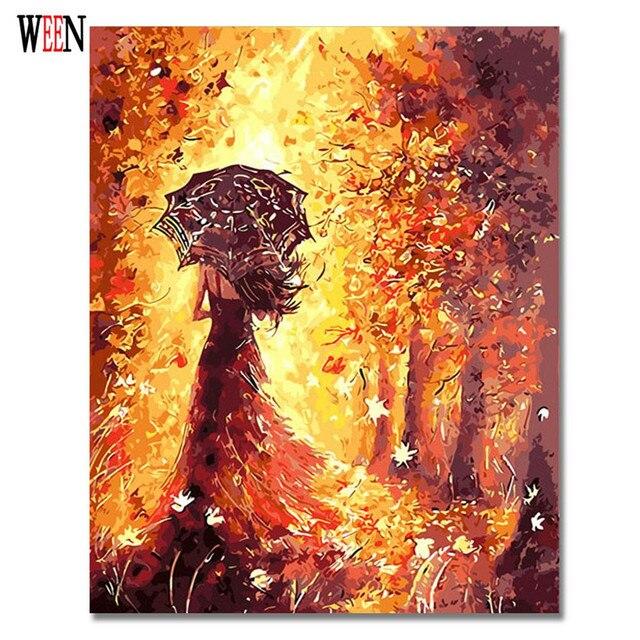 Gaun Gadis Lukisan Dengan Angka Di Atas Kanvas Diy Payung Gadis