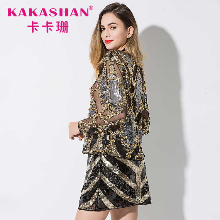 Women Fashion Beading Lace Blouse Sexy Perspective Tops High Quality Loose Sequins  Blouse e9a93537697c
