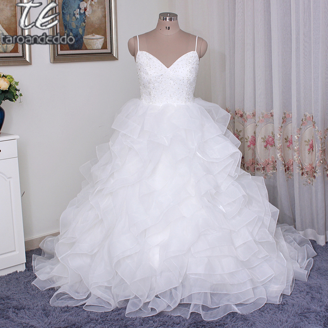 Organza Rosette Wedding Dress Ball Gown Y Backless Layer Skirt Crystal Designer Spaghetti Strap Sleeveless Bridal