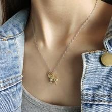 Louleur 925 prata esterlina ouro estereoscópico auspicioso elefante pingente colar para o festival de aniversário feminino jóias presente