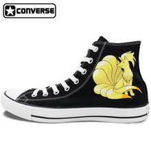 High Top Sneakers Converse All Star Ninetales Anime Pokemon Design Custom Hand Painted font b Shoes