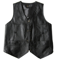 leather waistcoat sheep skin single waistcoat of old spring and autumn fur vest male leather large size vest