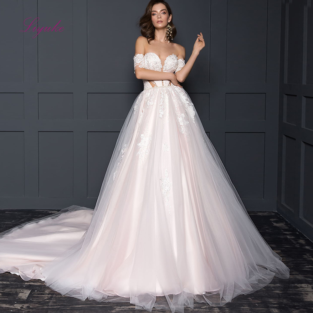 Liyuke 2019 Married Wedding Dress Ball Gown Sweetheart Neck Lace Appliques Off-the-shoulder Customized Floor-length