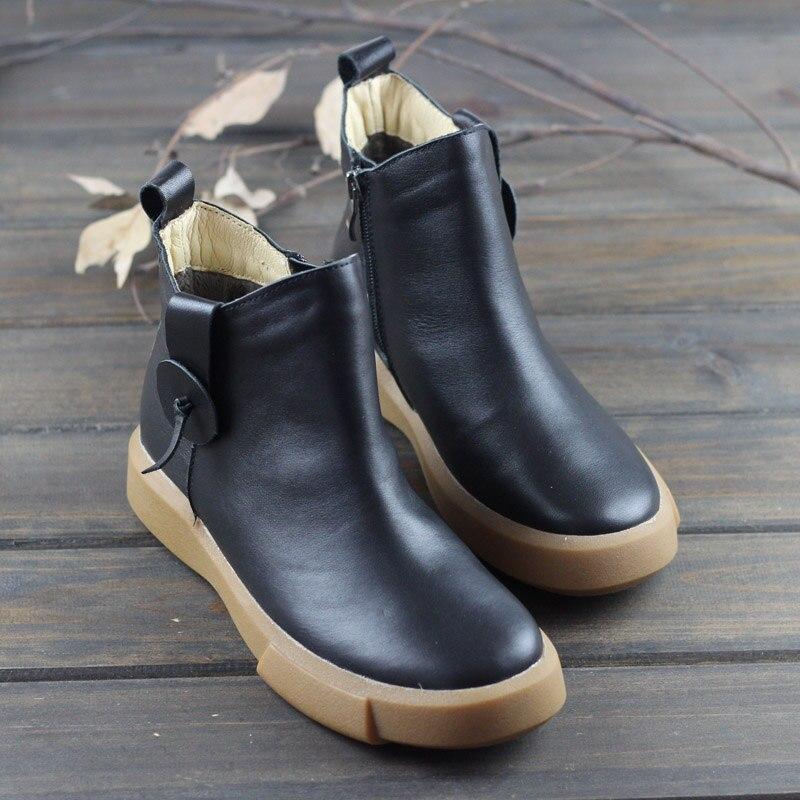 8558 brown Rond Black Bottes Zip Cheville Femme Femmes Noir Automne 100 Slip Cuir 3 Chaussures Véritable Sur Bout U6awqzT