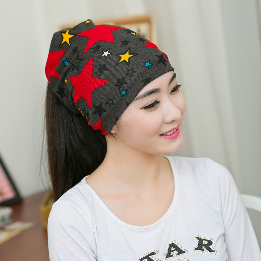 New Spring&Autumn Women Causal Solid Color Beanies Star Pattern Warm Hat Unisex Good Quality  More Function Scarf Hat