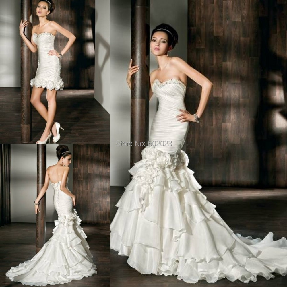 2015 beaded neckline mermaid satin 2 in 1 wedding gowns for Short wedding dress with removable train