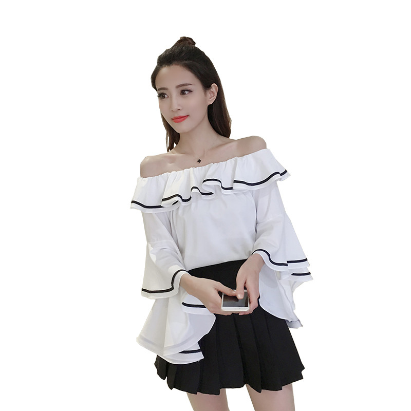 Buy fasbys 2017 fashion women summer haut femme solid color flare sleeve - Haut sexy femme ...