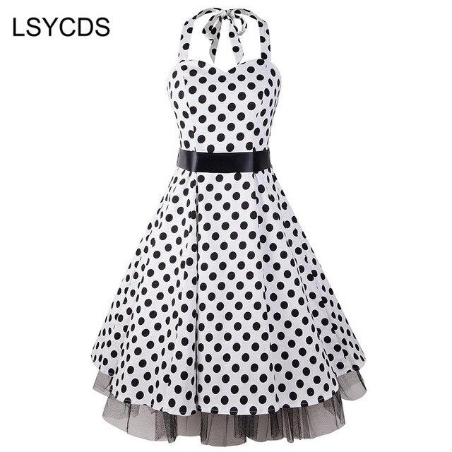 b970871e785 LSYCDS Women Audrey Hepburn Style Retro Vintage 50s 60s Rockabilly Swing  XXXL Plus Size Halter Polka Dot Summer Dresses ED-A278