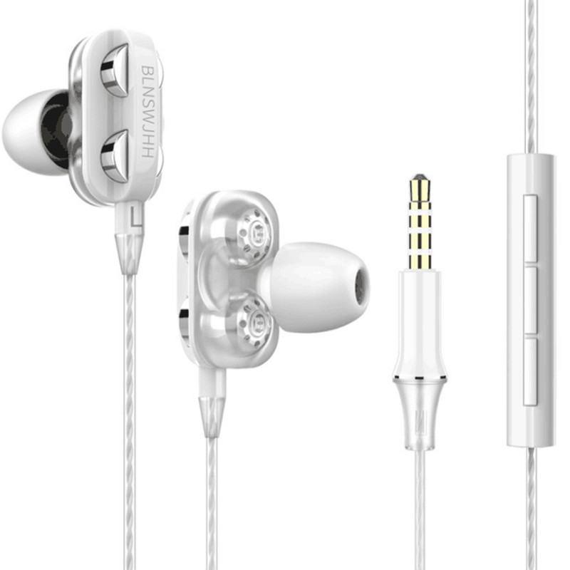 Xingshenglong quad core double action ring heavy bass earphone wire control band microphone suitable for mobile phone Huawei in Phone Earphones Headphones from Consumer Electronics