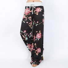 New Causal Women Autumn Flower Print Pants 2019 Drawstring Wide Leg Pants Loose Straight Trousers Long Female Plus Size Trousers men argyle print straight leg pants