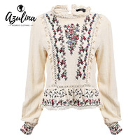 Retro Floral Embroidery Ethnic Women Blouse Blusas Long Sleeve Round Flare Collar Spring Autumn Vintage Linen