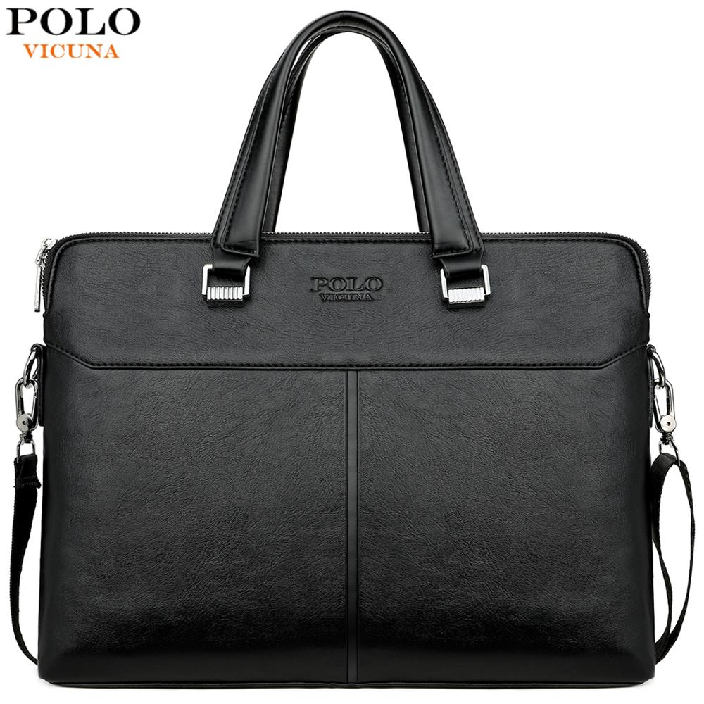 VICUNA POLO Classic Black Business Man Bag Leisure Leather Mens Handbag For Laptop OL Men's Briefcase Cross Body Shoulder Bags(China)