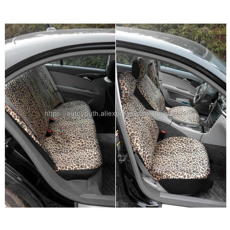 "AUTOYOUTH Luxe Luipaard Print Auto Bekleding Universele Fit Gordel Pads, en 15 ""Universele Stuurwiel Car Seat Protector"