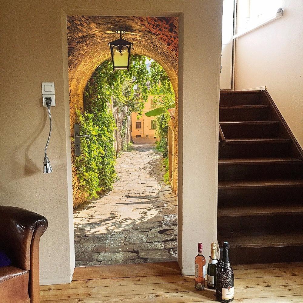 Green Corridor Art Picture Mural Wall Stickers Door