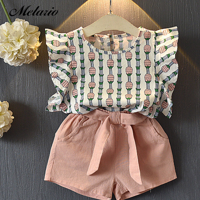 703415fbad0 Melario Clothing Sets 2019 Children Clothing Sleeveless Bow T-shirt+Print Pants  2Pcs for