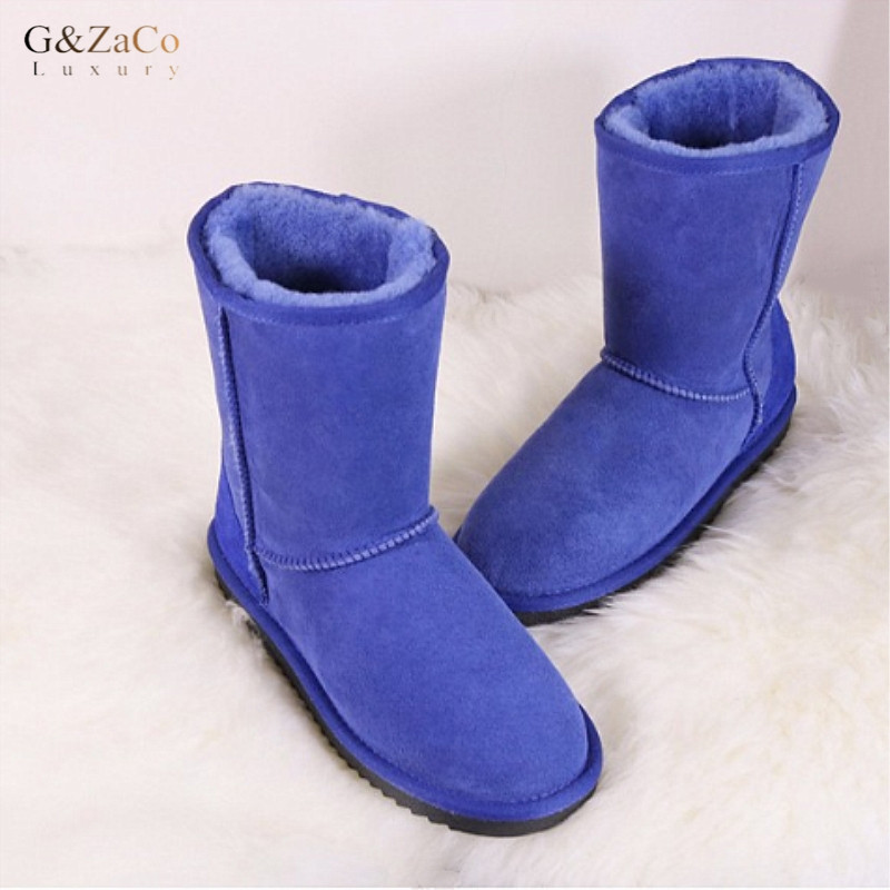 G&Zaco Luxury Brand Winter Classic Sheepskin Snow Boots Natural Wool Sheep Fur Boots Mid Calf Suede Women Boots Flat Sheep Shoes luxury purple floral highland sheep suede boots cat out flower spring winter over the knee boots women brand shoes nancyjayjii