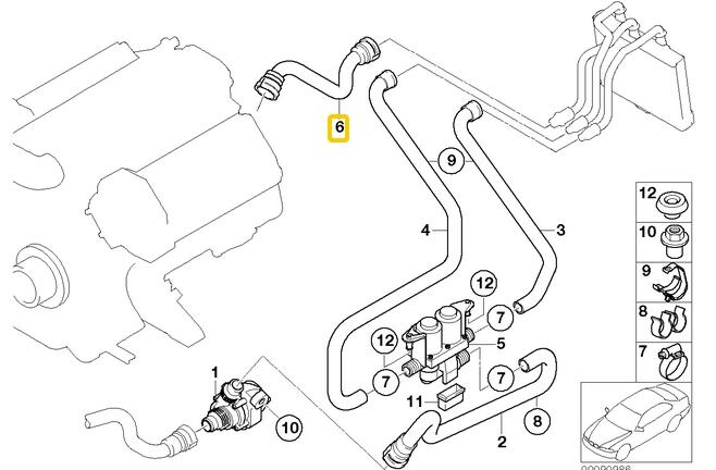 Heater Hose Engine Return To Core For BMW 745i 745li 750i Dual Hot Water Piping Diagram: BMW 535i Fuse Diagram At Hrqsolutions.co