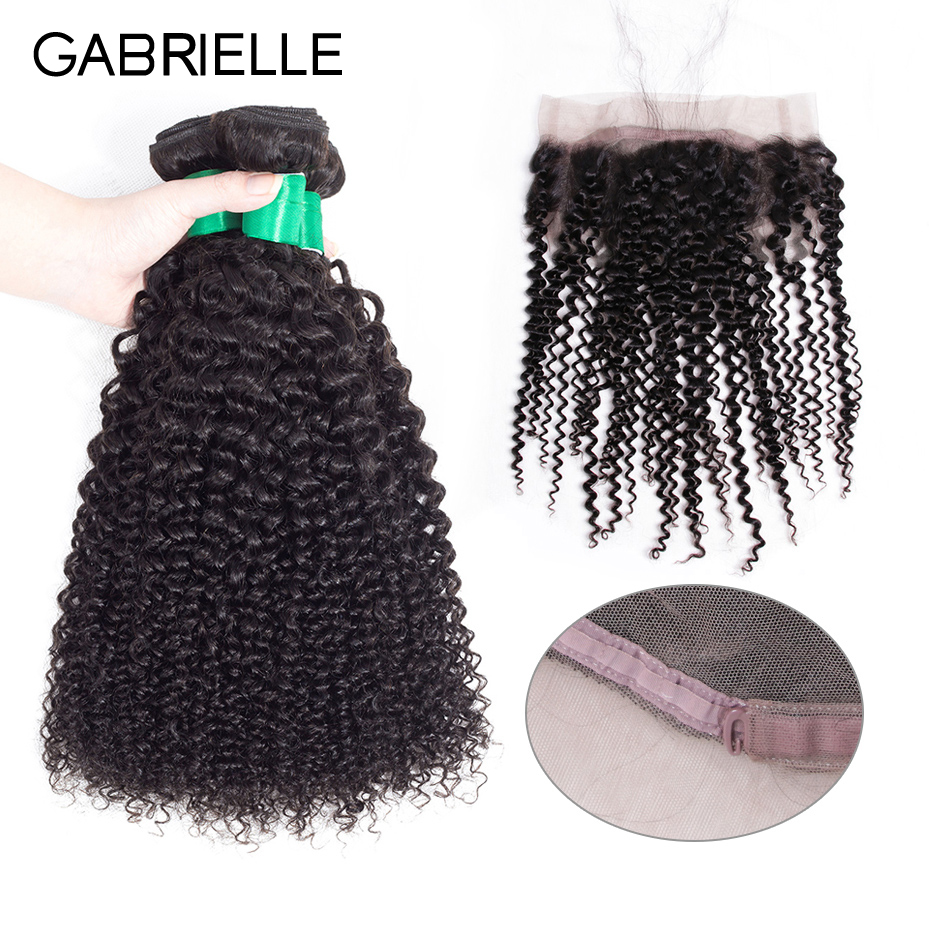 Gabrielle Indian Kinky Curly 3 Bundles with Frontal 100% Human Hair Bundles with 13x4 Lace Frontal Closure Non Remy Hair
