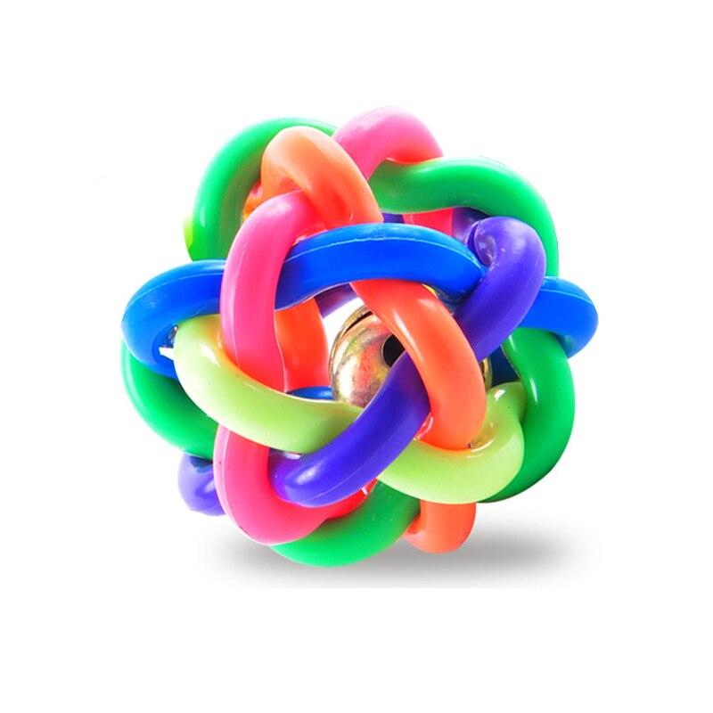 Actief Diameter 6/7/8 Cm Hond Speelgoed Bal Puppy Cat Pet Bell Sound Ball Rainbow Kleurrijke Rubber Plastic Plezier Spelen Toy Grappig Chew Speelgoed Regelmatig Drinken Met Thee Verbetert Uw Gezondheid