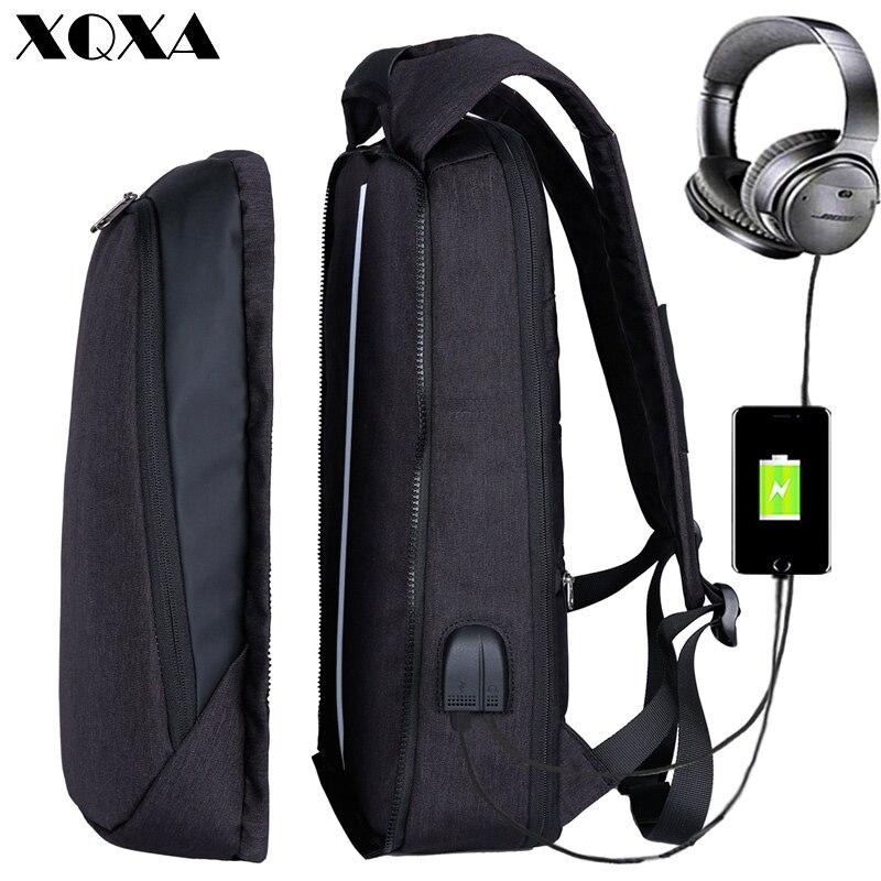 XQXA 17 inch מחשב נייד תרמיל USB טעינת תרמיל גברים עסקי נסיעות תרמיל להחלפה מכללת תיק בית הספר זכר המוצ 'ילה