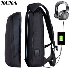 XQXA 17 inch Laptop Backpack USB Charging Backpack Men Business Travel Backpack Exchangeable College School Bag