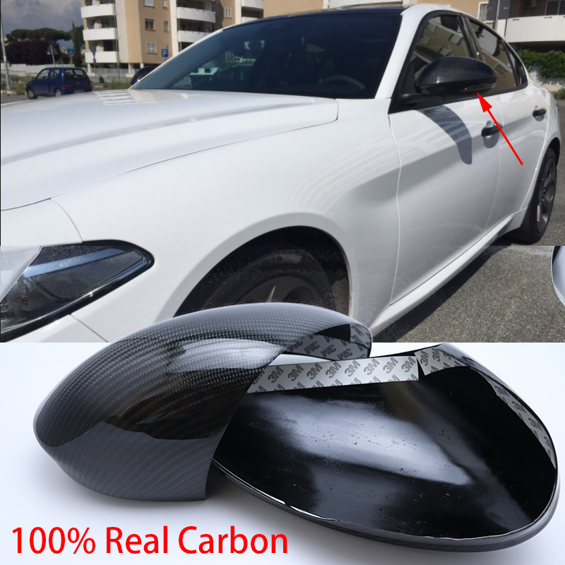 100 Real Carbon Fiber Shell sport style Side Mirror Cover Cap for Alfa Romeo Giulia 2015