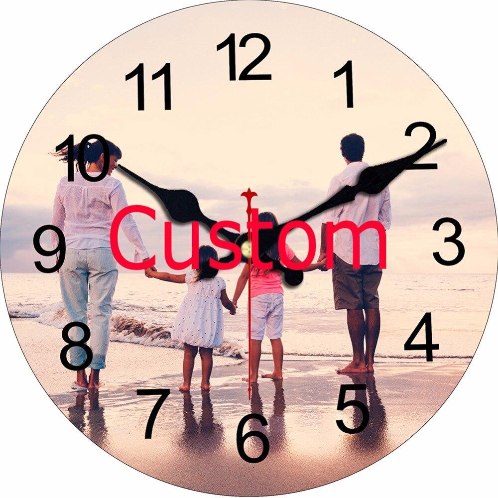 WONZOM Personnalisé Conception Imprimer Votre Image Horloge Murale Silencieux Vivant chambre Mur Décor Saat Maison Décoration 2017 Reloj De Pared cadeau
