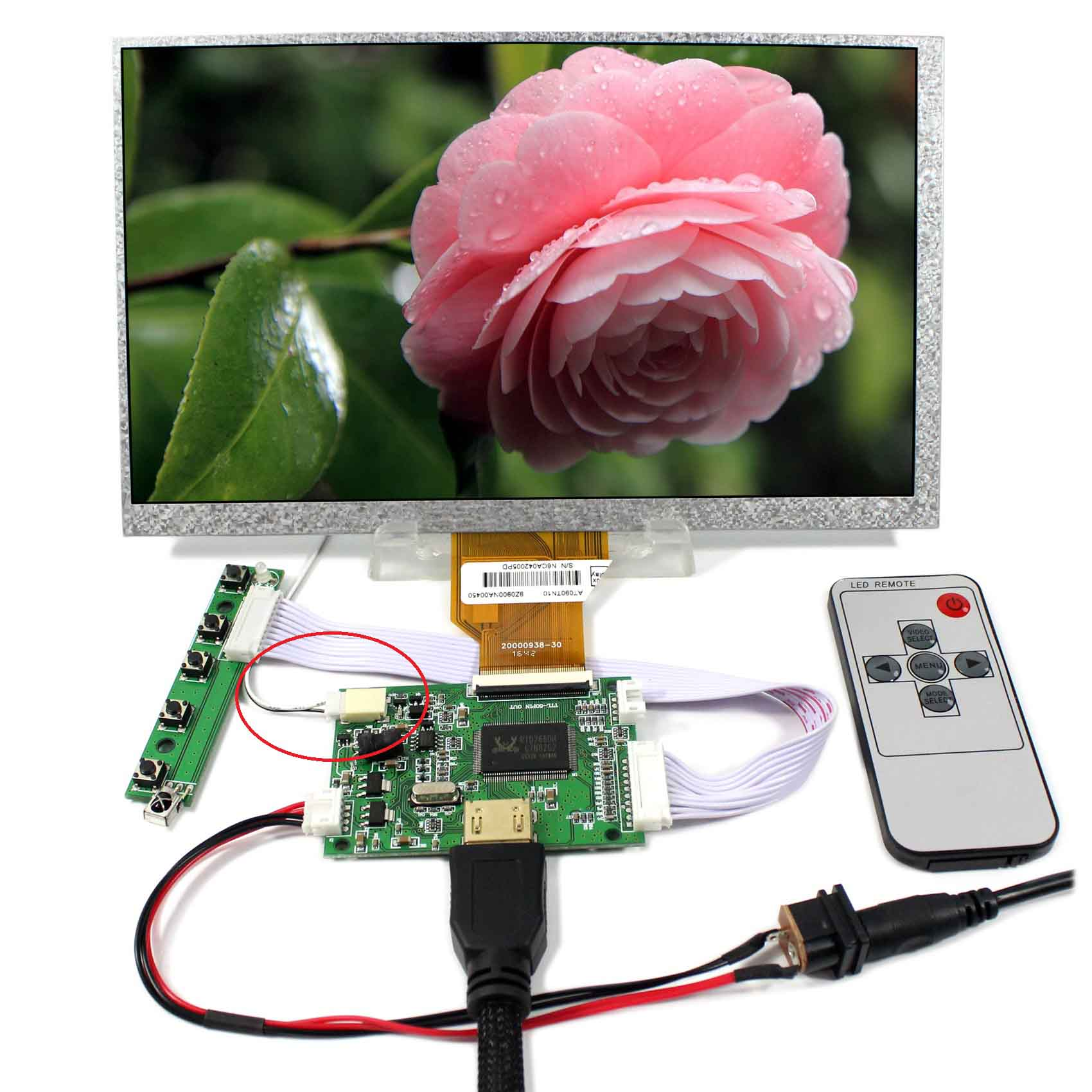 HDMI LCD Controller Board With+9inch 800x480 AT090TN10 LCD ScreenHDMI LCD Controller Board With+9inch 800x480 AT090TN10 LCD Screen