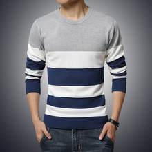 2016 New Autumn Fashion Brand Casual Pullover Sweater O-Neck Striped Slim Fit Warm Knitting Mens Sweaters M-5XL