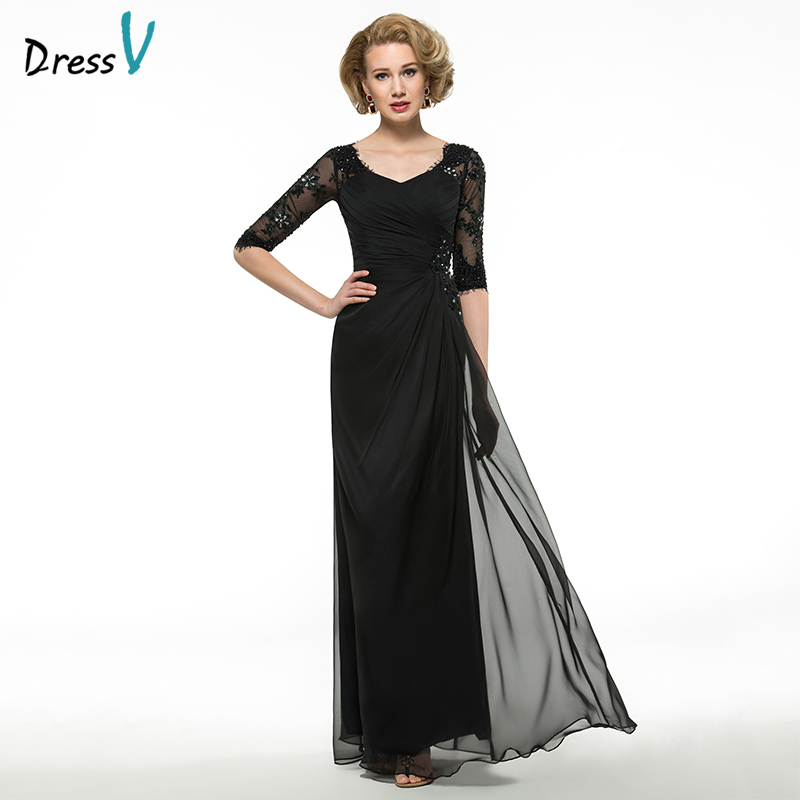 Dressv Black Long Mother Of The Bride Dress A Line Half Sleeves Beading Lace Pleats V Neck Custom Wedding Party Mother Dress