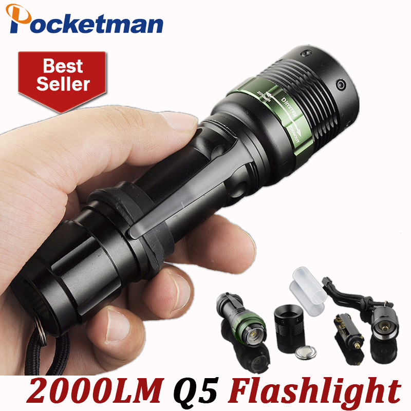 LED Flashlight 2000 Lumens Q5 3 modes keychain Tactical Flash Lights LED Torch Lanterna Torche Lampe Zoomable ZK50 zk94 high quality cree q5 2000 lumens lanterna waterproof mini black led flashlight 3 modes zoomable tactical torch light