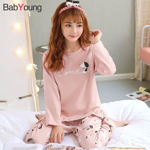 07479b6e2c BabYoung Pajamas Set for Women Cute Cartoon Korean Dog Print Casual Ruffled  Cotton Loose Autumn Winter Girls Home Sleepwear